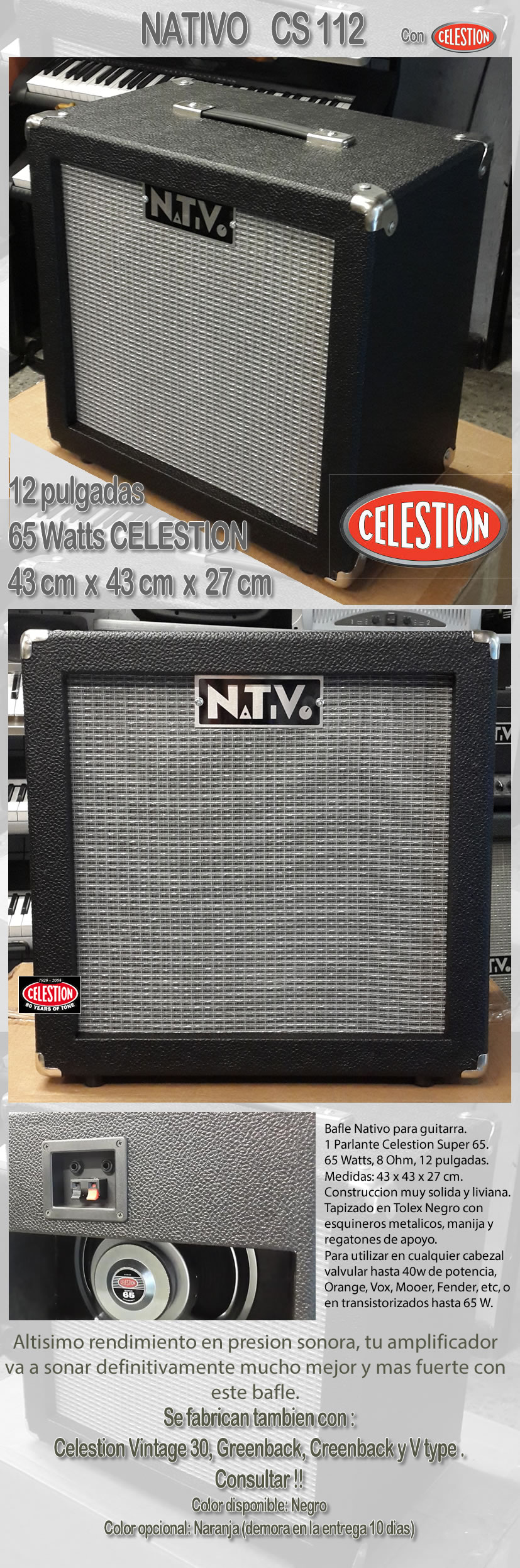 bafles y amplificadores Nativo, Marshall, Vox, Orange